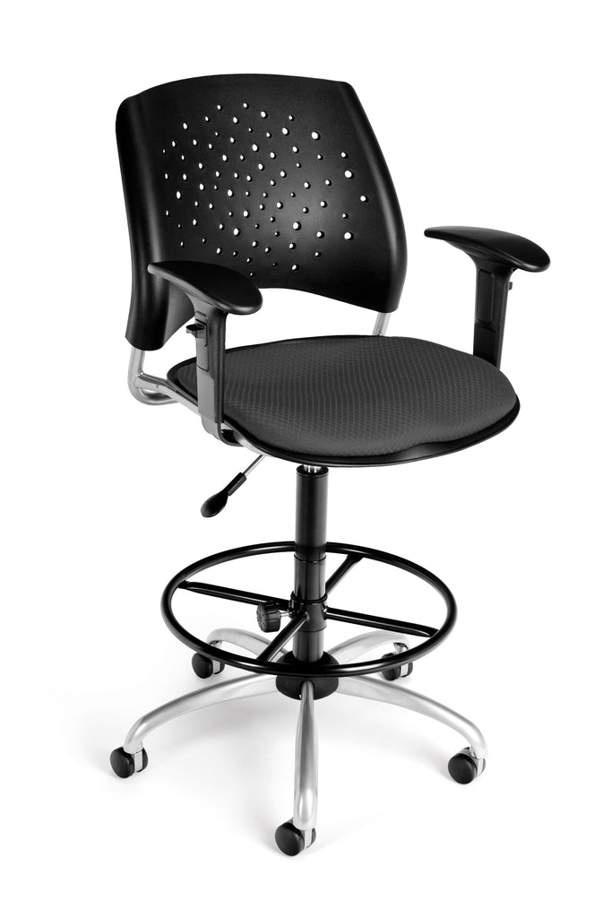 OFM Stars Series Model 326-AA3-DK Fabric Swivel Task Chair with Arms and Drafting Kit, Slate Gray ; UPC: 845123013328 ; Image 1