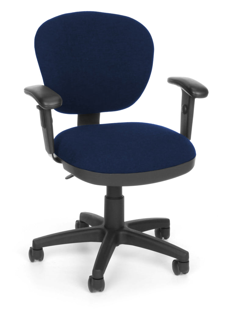 OFM Lite Use Model 150-AA Computer Swivel Task Chair with Arms, Fabric, Blue ; UPC: 845123011799 ; Image 1