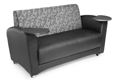 OFM InterPlay Series Social Seating Sofa with Double Tungsten Tablets, in Nickel/Black (822-N-606-TNGST) ; UPC: 845123031193 ; Image 1