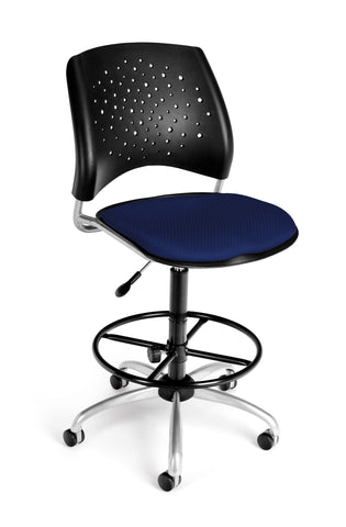 OFM Stars Series Model 326-DK Armless Fabric Swivel Task Chair and Drafting Kit, Navy ; UPC: 845123013397 ; Image 1