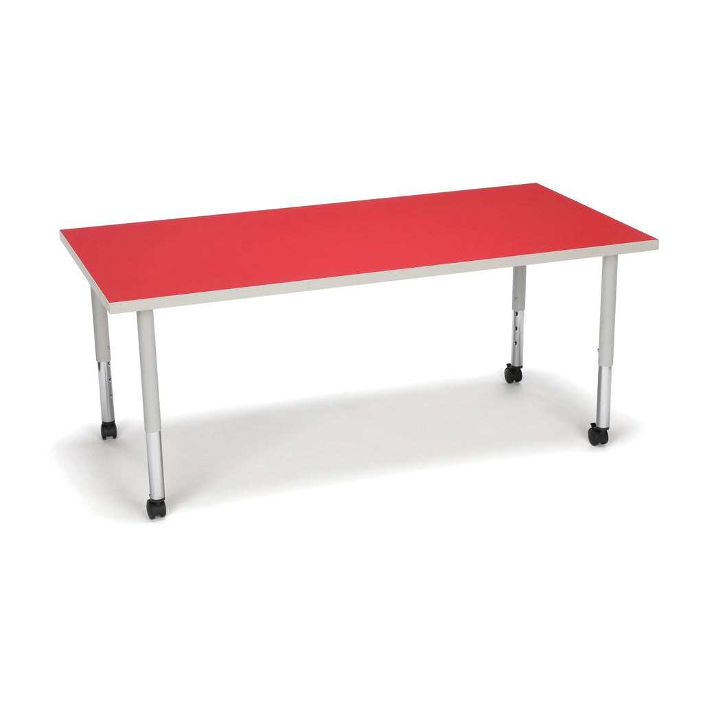 OFM Adapt Series Rectangle Student Table - 20-28? Height Adjustable Desk with Casters, Red (RECT-SLC) ; UPC: 845123096642 ; Image 1