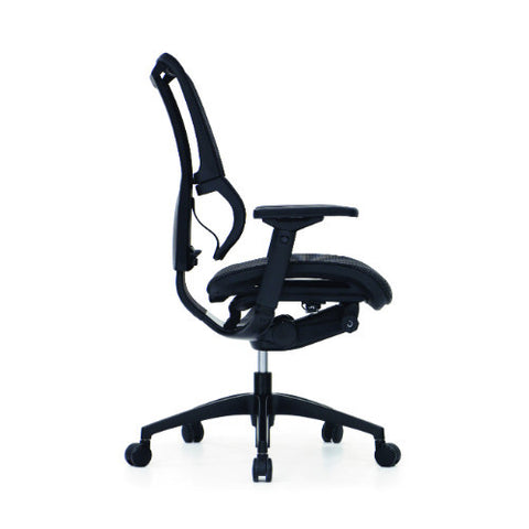 iOO Eurotech Office Ergonomic Chair Black Mesh and Black Frame (NO Head Rest) ; Side View ; UPC: 669245996679