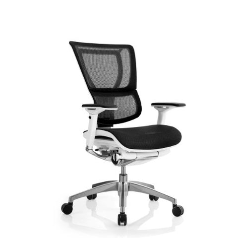 iOO Eurotech Office Ergonomic Chair Black Mesh and White Frame (NO Head Rest) ; Angle View ; UPC: 669245996686