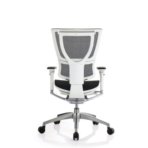iOO Eurotech Office Ergonomic Chair Black Mesh and White Frame (NO Head Rest) ; Back View ; UPC: 669245996686