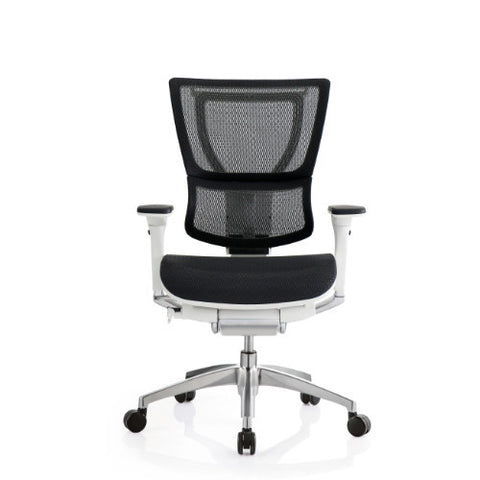 iOO Eurotech Office Ergonomic Chair Black Mesh and White Frame (NO Head Rest) ; Front View ; UPC: 669245996686