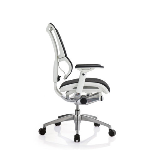 iOO Eurotech Office Ergonomic Chair Black Mesh and White Frame (NO Head Rest) ; Side View ; UPC: 669245996686