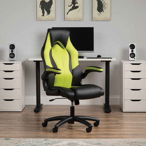Essentials by OFM ESS-3086 High-Back Racing Style Bonded Leather Gaming Chair, Green ; UPC: 192767001205 ; Image 12