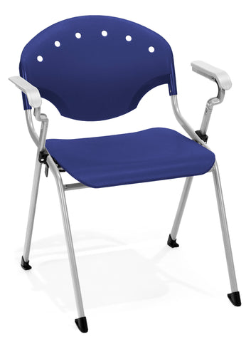 OFM Rico Series Model 306 Plastic Stack Chair with Arms, Navy ; UPC: 845123003039 ; Image 1