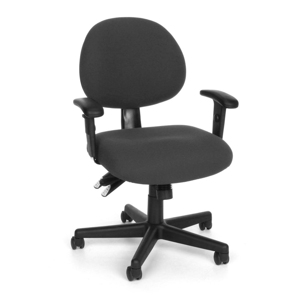 OFM Model 241-AA 24 Hour Ergonomic Upholstered Task Chair with Arms, Charcoal ; UPC: 845123012376 ; Image 1