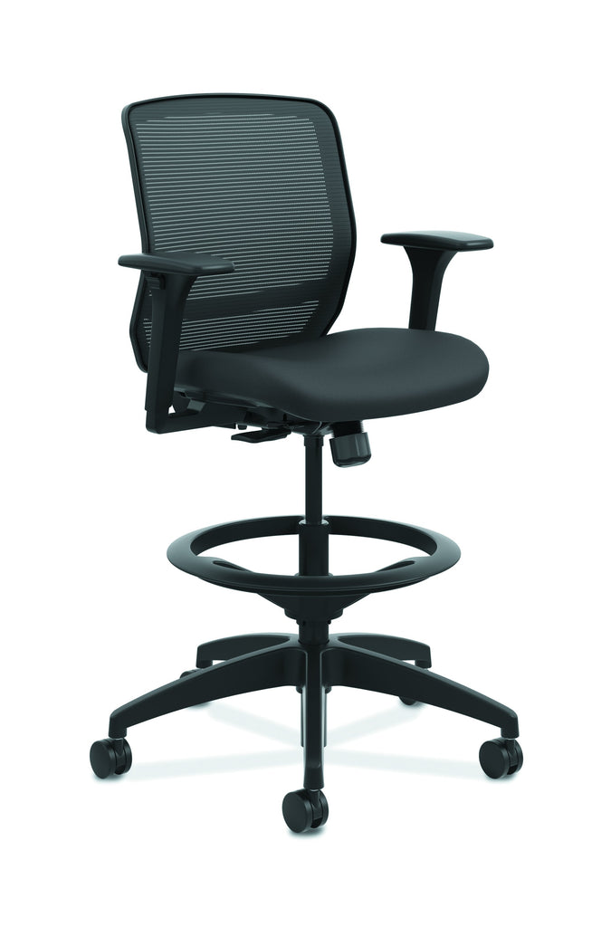 HON Quotient Mid-Back Task Stool with Mesh Back, in Black (HQTSM) ; UPC: 089192691159 ; Image 1