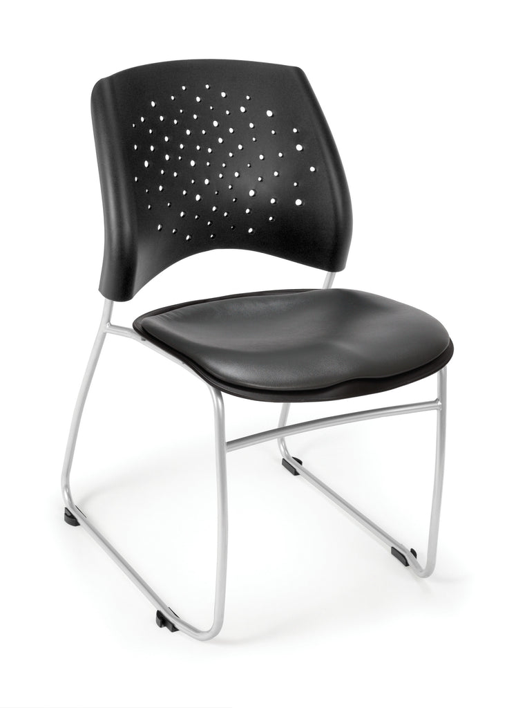 OFM Stars Series Model 325-VAM Anti-Microbial/Anti-Bacterial Vinyl Stack Chair, Charcoal ; UPC: 845123012338 ; Image 1