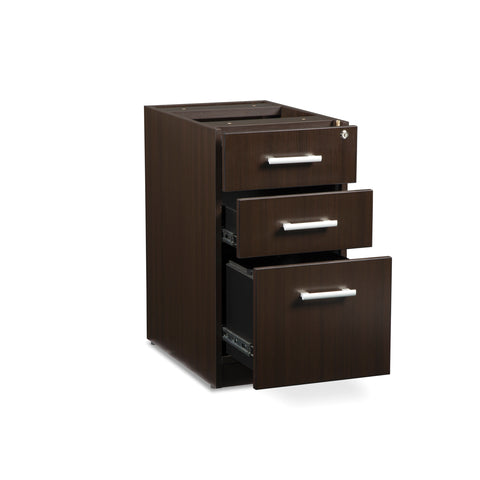 OFM Fulcrum Series Locking Pedestal, 3-Drawer Filing Cabinet, Espresso (CL-BBF-ESP) ; UPC: 845123097441 ; Image 6
