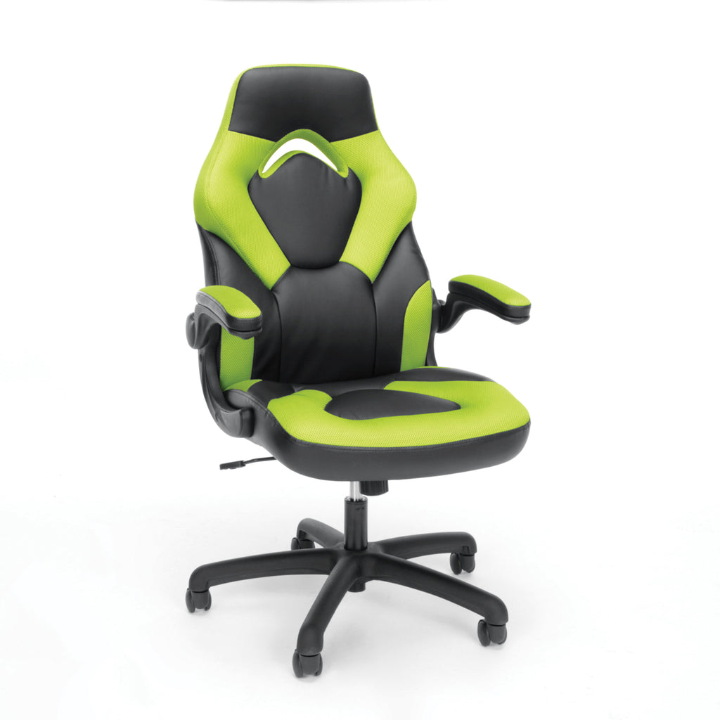 OFM Essentials Collection Racing Style Bonded Leather Gaming Chair, in Green (ESS-3085-GRN) ; UPC: 845123089293 ; Image 1