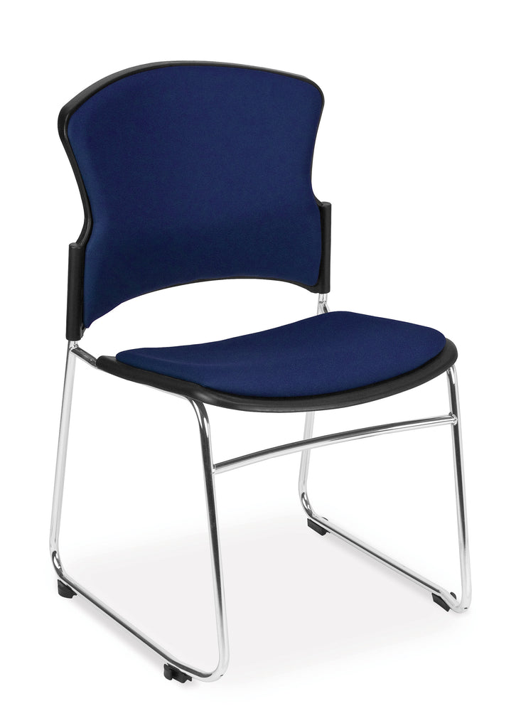 OFM Multi-Use Stack Chair with Fabric Seat, Navy ; UPC: 811588013845 ; Image 1