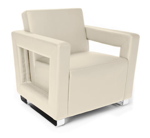 OFM Distinct Series Model 831 Soft Seating Lounge Chair, Polyurethane, Cream with Chrome Base ; UPC: 845123034330 ; Image 1