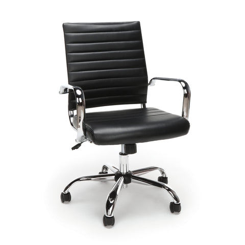 Essentials by OFM ESS-6095 Soft Ribbed Bonded Leather Executive Conference Chair, Black ; UPC: 845123095379 ; Image 1