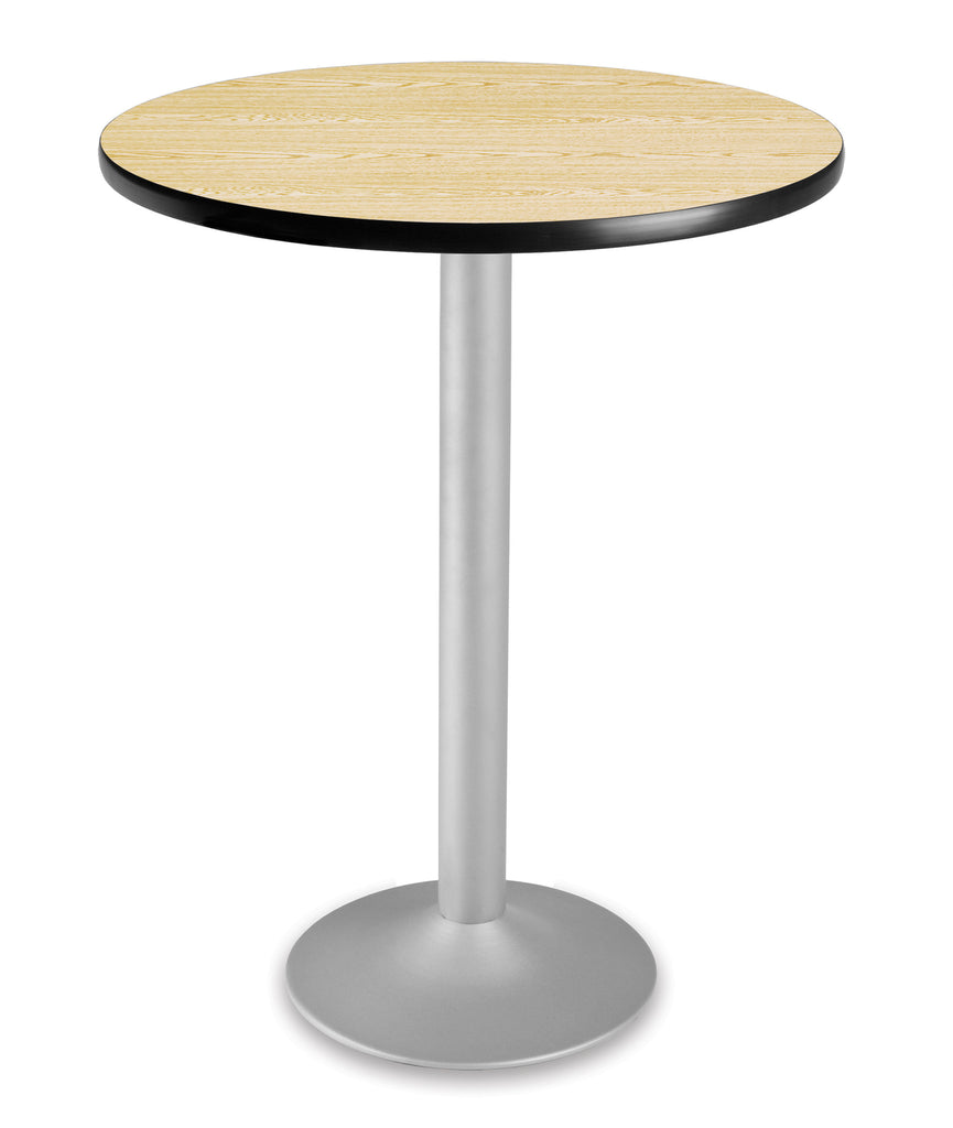 "OFM Model CFT30RD 30"" Round Folding Cafe Height Table with Pedestal Base, Oak ; UPC: 845123006184 ; Image 1"