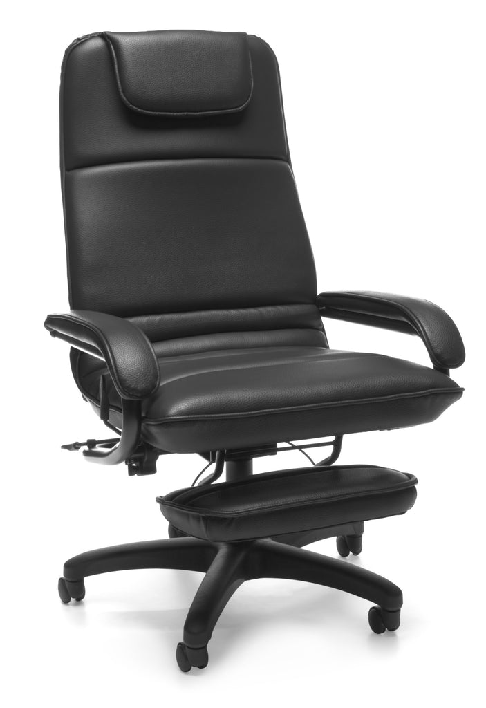 OFM Model 680 Ergonomic High-Back Executive Reclining Office Chair with Footrest, Anti-Microbial/Anti-Bacterial Vinyl, Black ; UPC: 811588015368 ; Image 1