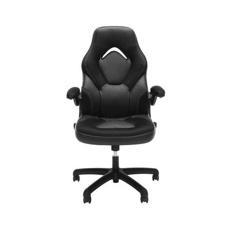 OFM Essentials Collection Racing Style Bonded Leather Gaming Chair, in Black (ESS-3085-BLK) ; UPC: 192767002523 ; Image 2