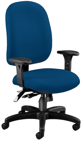 OFM Model 125 Ergonomic Task Chair with Arms, Fabric, Mid Back, Navy ; UPC: 811588012756 ; Image 1