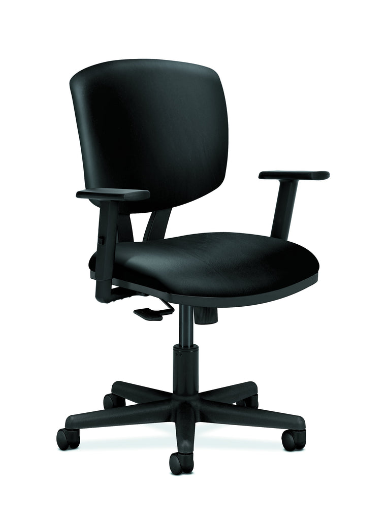 HON Volt Task Chair | Synchro-Tilt, Tension, Lock | Adjustable Arms | Black SofThread Leather ; UPC: 192767001014 ; Image 1