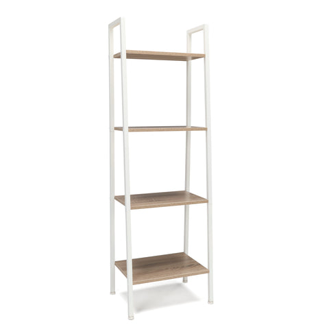 Essentials by OFM ESS-1045 4-Shelf Free Standing Ladder Bookshelf, Natural with White Frame ; UPC: 845123095621 ; Image 1