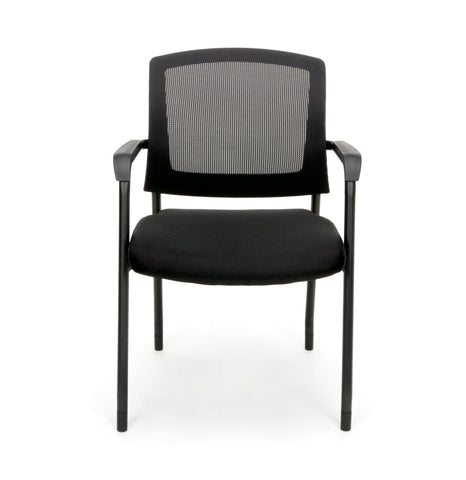 OFM Model 424 Mesh-Back Fabric Guest and Reception Chair, Black ; UPC: 845123089187 ; Image 2