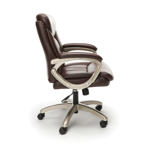 Essentials by OFM ESS-6020 Executive Office Chair, Brown with Champagne Frame ; UPC: 845123093269 ; Image 4