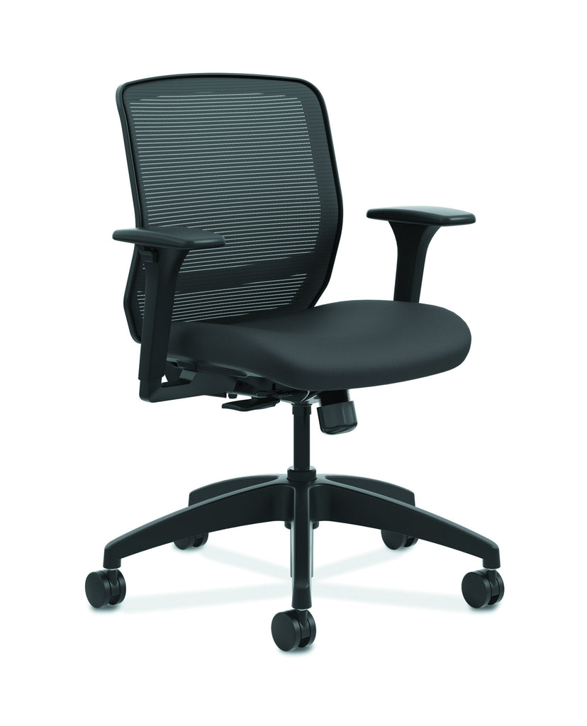 HON Quotient Mid-Back Task Chair with Mesh Back, in Black (HQTMM) ; UPC: 089192690589 ; Image 1