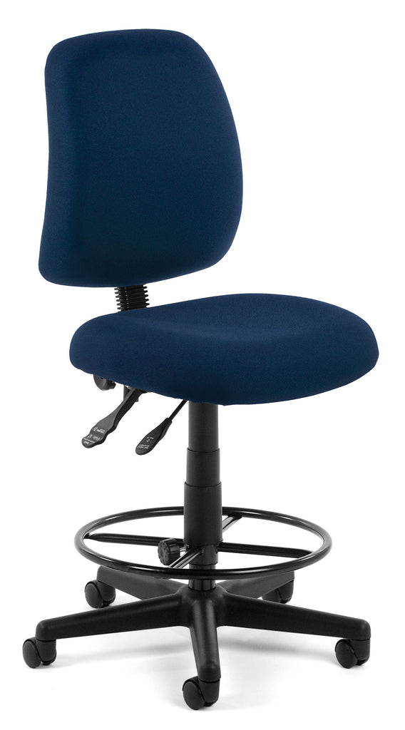 OFM Posture Series Model 118-2-DK Armless Swivel Task Chair with Drafting Kit, Fabric, Mid-Back, Navy ; UPC: 845123011317 ; Image 1