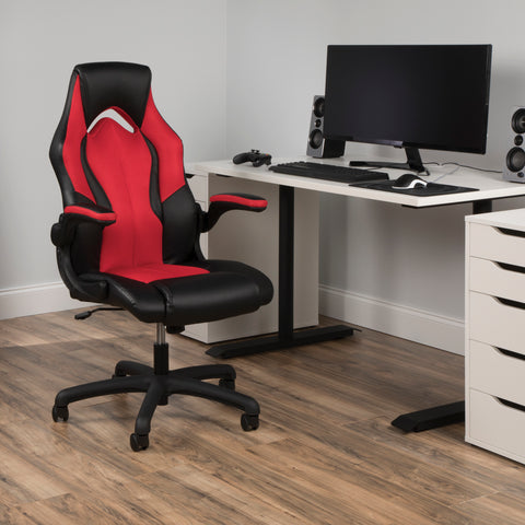OFM Essentials Collection High-Back Racing Style Bonded Leather Gaming Chair, in Red (ESS-3086-RED) ; UPC: 845123090640 ; Image 14