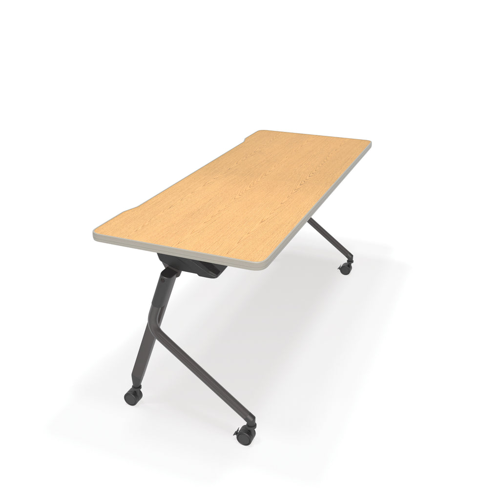 "OFM Mesa Series Model 66152 Flip Nesting Training Table and Desk, 23.5"" x 59"", Oak ; UPC: 845123080405 ; Image 1"