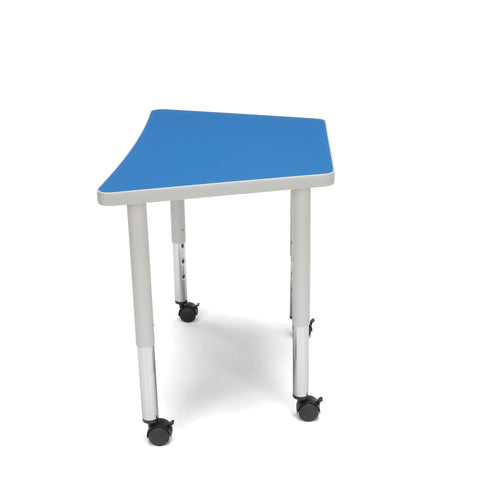 OFM Adapt Series Trapezoid Student Table - 20-28? Height Adjustable Desk with Casters, Blue (TRAP-SLC) ; UPC: 845123096383 ; Image 4