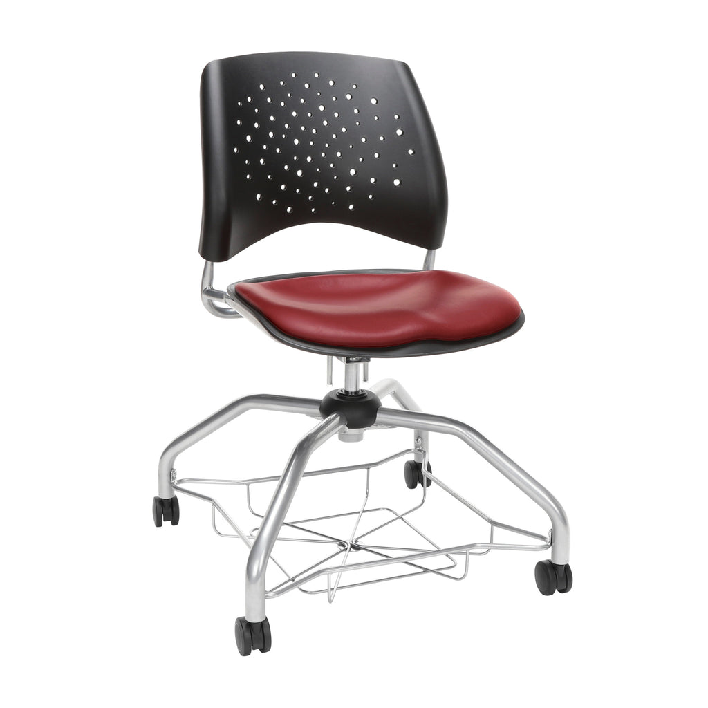 OFM Stars Foresee Series Chair with Removable Vinyl Seat Cushion - Student Chair, Wine (329-VAM) ; UPC: 845123094099 ; Image 1