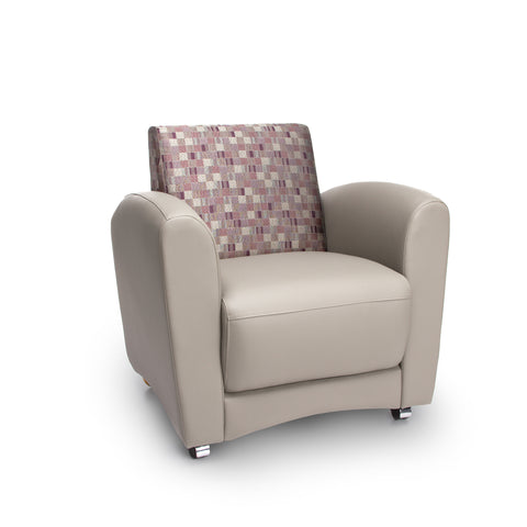 OFM InterPlay Series Upholstered Guest / Reception Chair, Plum/Taupe ; UPC: 845123040720 ; Image 1