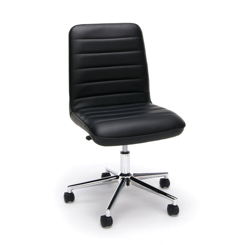 Essentials by OFM ESS-2080 Mid-Back Bonded Leather Armless Chair, Black ; UPC: 845123093054 ; Image 1