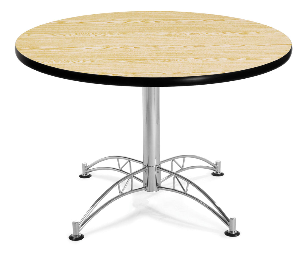 "OFM Model LT42RD 42"" Multi-Purpose Round Table with Chrome-Plated Steel Base, Oak ; UPC: 811588017676 ; Image 1"