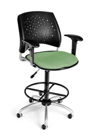 OFM Stars Series Model 326-AA3-DK Fabric Swivel Task Chair with Arms and Drafting Kit, Sage Green ; UPC: 845123013274 ; Image 1