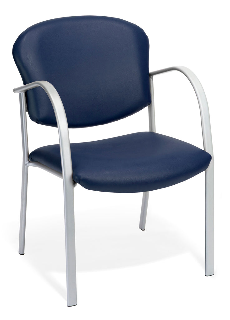 OFM 414-VAM-605 Reception Chair with Arms - Vinyl Guest Chair, Navy ; UPC: 811588013289 ; Image 1