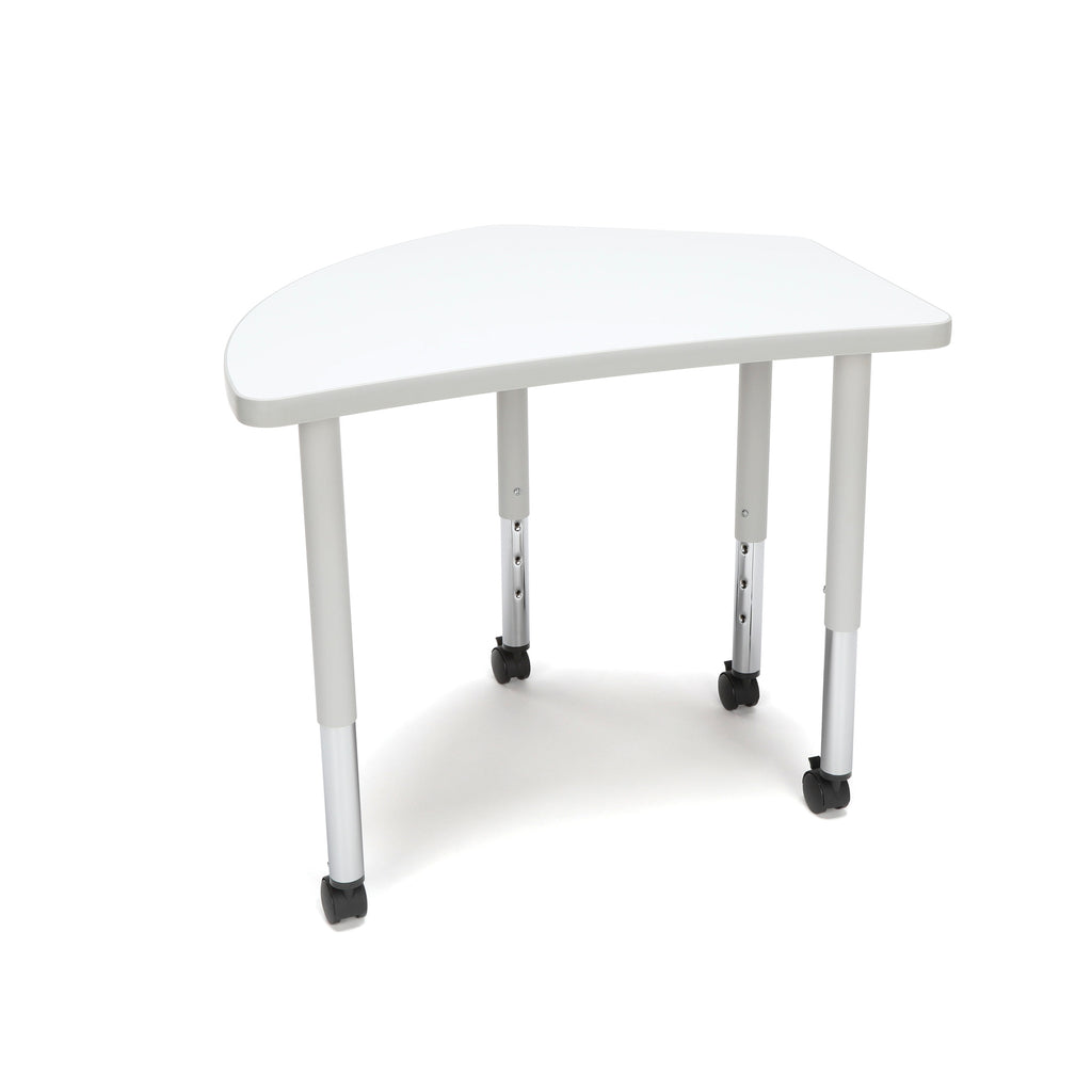 OFM Adapt Series Crescent Student Table - 20-28? Height Adjustable Desk with Casters, White (CREST-SLC) ; UPC: 845123096338 ; Image 1