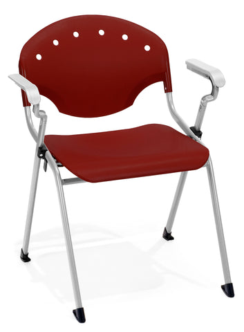 OFM Rico Series Model 306 Plastic Stack Chair with Arms, Burgundy ; UPC: 811588013678 ; Image 1