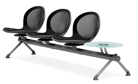 OFM Core Collection Model NB-4G - NET Series 3 Seats & 1 Table Beam in Black ; UPC: 845123027042 ; Image 1