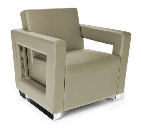 OFM Distinct Series Model 831 Soft Seating Lounge Chair, Polyurethane, Taupe with Chrome Base ; UPC: 845123034347 ; Image 1