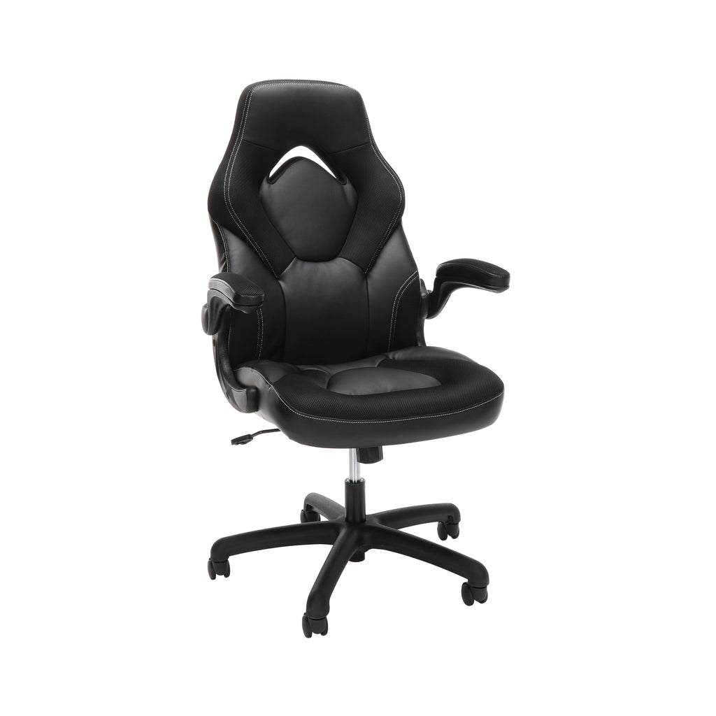 OFM Essentials Collection Racing Style Bonded Leather Gaming Chair, in Black (ESS-3085-BLK) ; UPC: 192767002523 ; Image 1