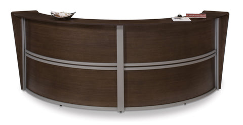 OFM Marque Series Double-Unit Curved Reception Station, Walnut ; UPC: 845123022207 ; Image 1