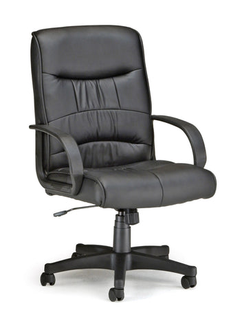 OFM Encore Series Model 508-LX Leatherette Executive Mid-Back Chair, Black ; UPC: 811588014484 ; Image 1