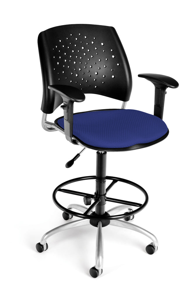 OFM Stars Series Model 326-AA3-DK Fabric Swivel Task Chair with Arms and Drafting Kit, Royal Blue ; UPC: 845123013304 ; Image 1