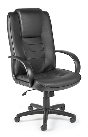 OFM Executive Collection Model 500-L Leather High-Back Office Chair, Black ; UPC: 811588014545 ; Image 1