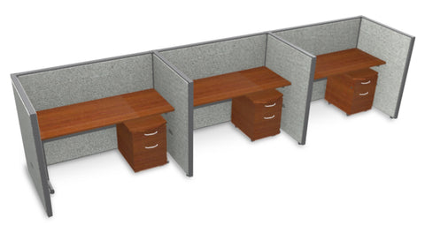 "OFM RiZe Series 47"" x 60"" 3-Unit Full Vinyl Privacy Station Panel System, 1 x 3 Configuration, Gray with Cherry Desk ; UPC: 845123000816 ; Image 1"