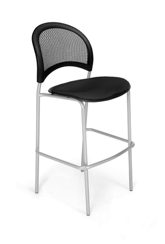 OFM 338S-2224 Moon Cafe Height Silver Chair, Black ; UPC: 845123004982 ; Image 1